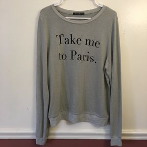 Wildfox Long Sleeve Sweatshirt Fleece Gray